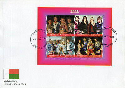 Madagascar 2018 FDC ABBA 4v M/S Cover Music Popstars Celebrities Stamps