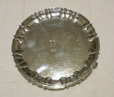 antique solid sterling silver waiter or card tray by William Hutton London 1899