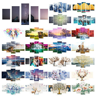 5 Piece Waterfall HD Printed Canvas Painting Frameless Posters Art Picture Decor