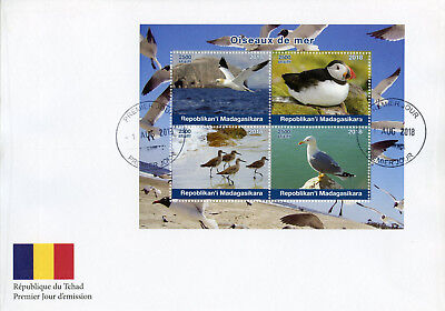 Madagascar 2018 FDC Sea Birds Puffins Gannets Gulls Seagulls 4v M/S Cover Stamps