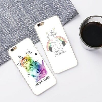 Unicorn Cartoon Animal TPU Phone Case Cover Soft For Iphone 5 6 Plus 7 6s 8 X SE