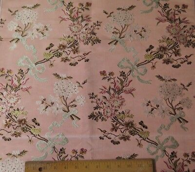 """Gorgeous Antique 19thC Floral & Bows Silk Brocade Sample Fabric~38""""LX22""""W"""