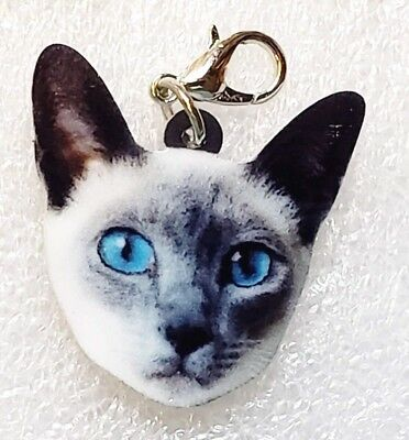 Siamese Cat Head Realistic Acrylic Double-Sided Purse Charm Zipper Pull Jewelry
