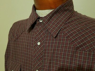 48581865fa Wrangler Vintage Western Pearl Snap Shirt Long Sleeve Red Blue Plaid Mens XL