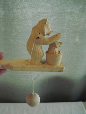 Vintage Carved Wood Russian Arm Motion W/string Toy Big Bear Bathes Baby Bear