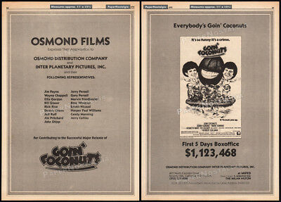 GOIN' COCONUTS__Orig. 1978 Trade print AD promo / poster__Donny and Marie Osmond