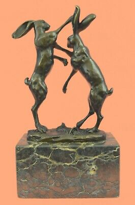 Hand Made LARGE BOXING HARES BRONZE STATUE ANIMAL SCULPTURE HOT CAST FIGURE SALE