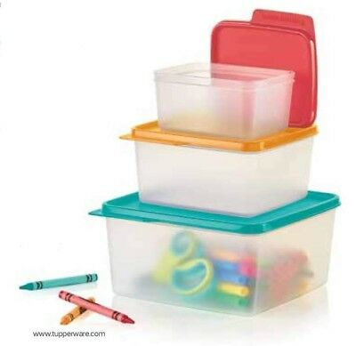 New TUPPERWARE Keep Tabs 3 PC Bowl Set Includes 2, 5, & 10 Cup FREE US SHIPPING