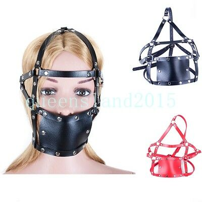 Slave Restraint Harness Head Mask Lock Leather Strap Fantasy Mouth Open Ball New