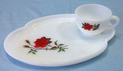 Vintage Federal Milk Glass Snack Tray and Cup Rosecrest Red Rose