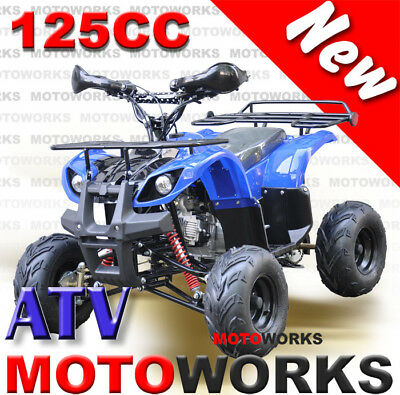 MOTOWORKS 125CC Farm ATV QUAD Bike Dirt Gokart 4 Wheeler Buggy trail blue