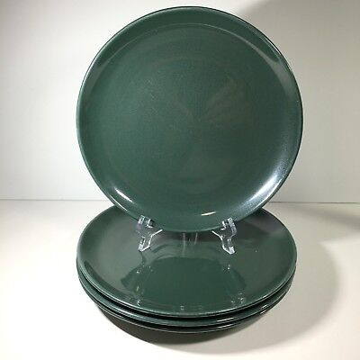 """4 Russel Wright China Iroquois 9"""" Luncheon Plates Parsley Green Mid Century MCM"""