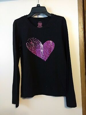 FADED GLORY girls XL(14/16) black long sleeve shirt with pink heart