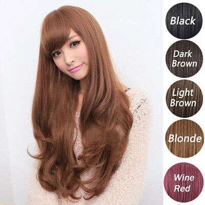 Women Lady Fashion Long Curly Wavy Hair Styling Cosplay Party Full Wig Hairpiece