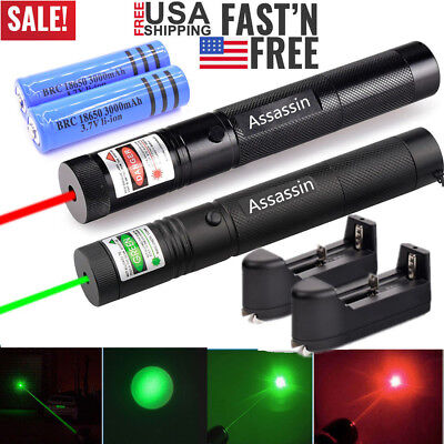 2PC 60Miles Green+Red Laser Pointer Lazer Pen Visible Beam Light Rechargeable US