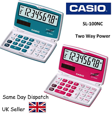 Casio Sl-100Nc Calculator - Electronic - Two Way Power - Solar - Blue & Red