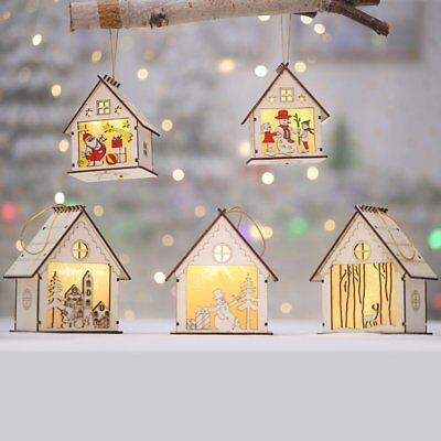 Christmas Decorations Glowing Wooden Cabin Cartoon Lanterns House Snow W_