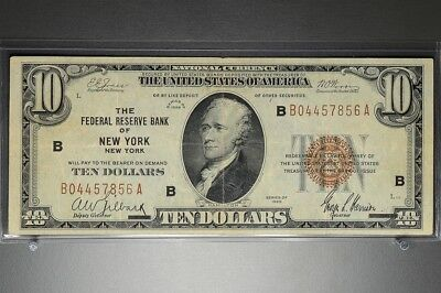 1929 $10 National Currency Note FRB of New York, New York