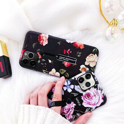 For iPhone XS MAX XR 8 Plus Flower Marble Ring Holder Kickstand Hard Case Cover