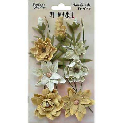 49 and Market Flowers VINTAGE SHADES Cluster ~ YELLOW ~ 13 Handmade Pieces
