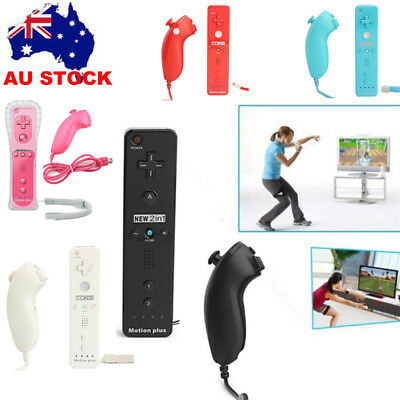 AU 2in1 Wireless Motion Plus Remote Nunchuck Controller Joypad For Nintendo Wii
