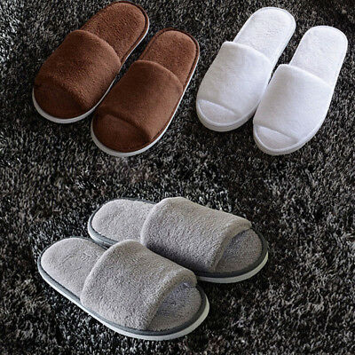 Unisex Women Men Flannel Open Toe Hotel Home Indoor Fleece Winter Slippers Hot