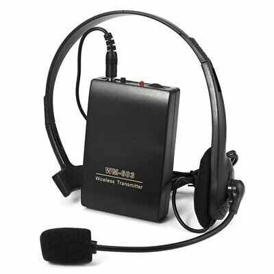Professional FM Transmitter Wireless Headset Microphone Clip On Mic Receiver BP