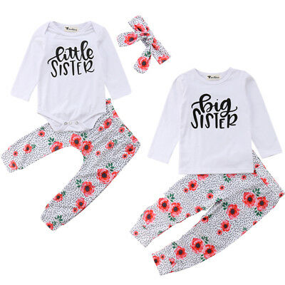 8b8420ffcd3eb 3pcs Baby Kid Girl Twin Sister Clothes Bodysuit Romper Outfit T Shirt Set  Tops