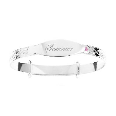 Real Solid Silver Personalised Christening Childrens Bangle Bracelet 925 Pink CZ