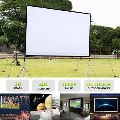 "60/72/84/100/120"" Projector Screen HD Home Cinema Outdoor Projection Foldable"