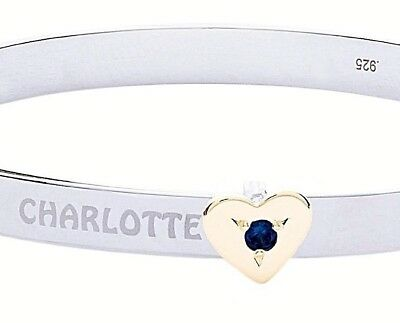 Personalised Solid Silver Expandable Baby Bracelet Gold Plated Heart Gem Bangle