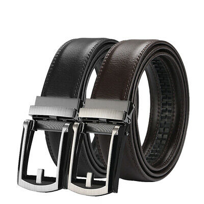 "Men's Comfort Click Belt Leather With Steel Brown And Black 28""-48"" US SHIP"