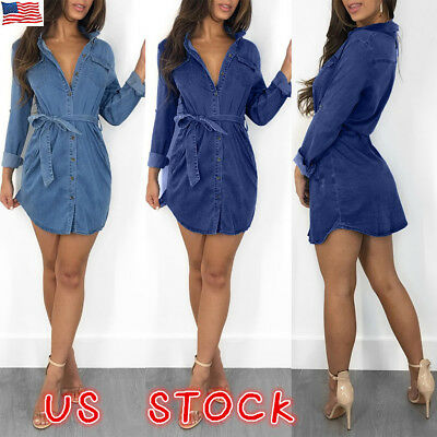 Womens Denim Jeans Mini Dress Long Sleeve Belted Casual T Shirt Blouse Dresses