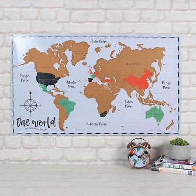 Scratchable Map of the World Scratch Travel Travelling Adventure Gift Present