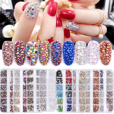 Nail Rhinestones Gems Glitter 3D Nail Art Decoration Manicure Colorful Tips DIY