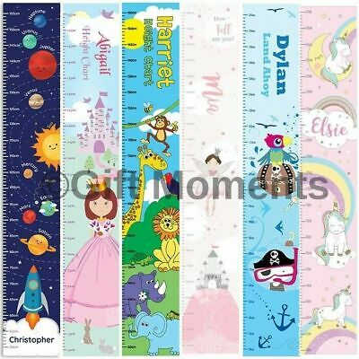 Childrens Personalised Height Charts - Vinyl Wall Chart, Boys, Girls, 8 Designs