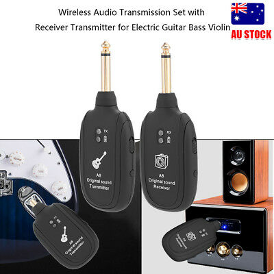 UHF Guitar Wireless Audio System Transmitter Receiver Built-in Rechargeable 50m