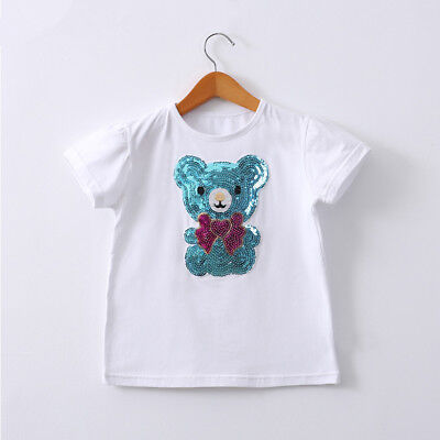 Girls Sequins White T-shirts Top Short Sleeves Blue/Pink Teddy Bear 7-12Y