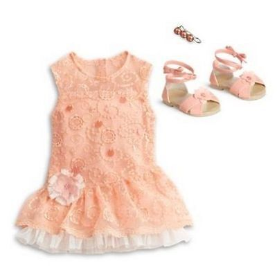 "American Girl peach Lace Party Dress outfit set shoes for 18"" dolls NEW Blaire"