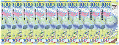 Russia 100 Rubles X 10 Pieces - PCS,2018,P-NEW,UNC,Polymer,FIFA World Cup,Soccer