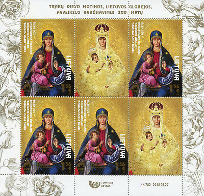 Lithuania 2018 MNH Mother of God of Trakai 4v M/S Religious Icons Art Stamps