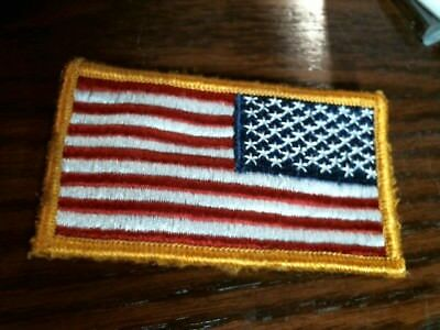 US Military Army Reverse Flag Uniform Patch, Red, White, Blue & Gold hook/loop