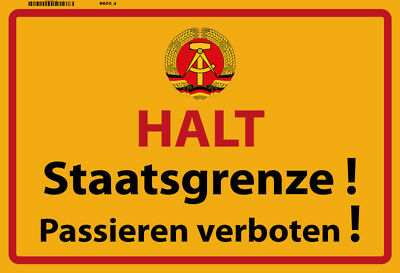 Halt Staatsgrenze ! der DDR Blechschild Metallschild Schild Tin Sign 20 x 30 cm