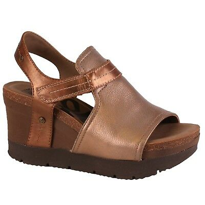 4de5c254d8c WOMEN OTBT WAVEY Mid Brown Double Sticking Strap Wedge Sandals Shoes ...