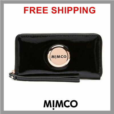 Genuine Mimco Mim Black Rose Gold Zip Around Large Wallet Full Leather Rrp249 Df