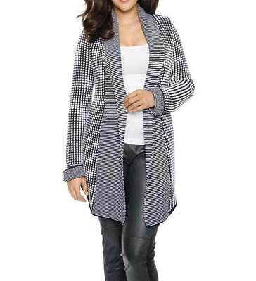 A007.580a# NEU! Designer-Longstrickjacke, marine-weiß, Ashley Brooke