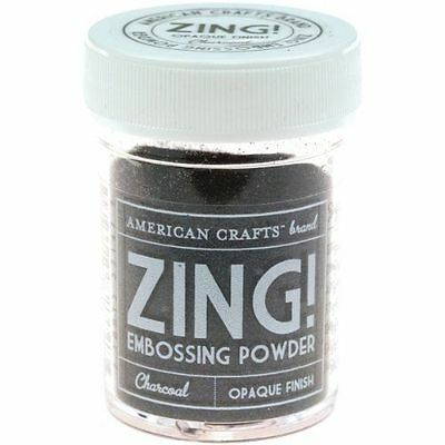 ZING EMBOSSING POWDER OPAQUE FINISH BY AMERICAN CRAFTS 1oz JAR ~CHARCOAL