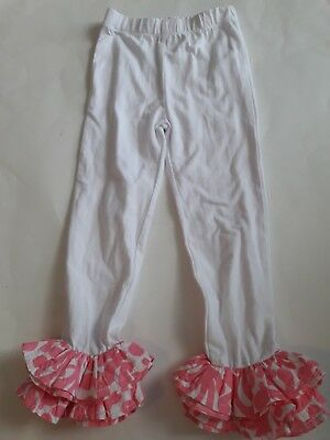 Mud Pie Girls Ruffled Pink and White Pants, Bottoms Size 3T
