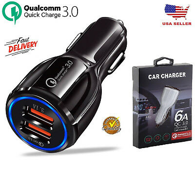 Qualcomm QC3.0 Certified Quick Charge Dual 2 USB Port Fast Car Charger 36W US