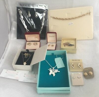 Job Lot Of Gold Plated Pierced Earrings, Plus Other Unused Jewellery Items.